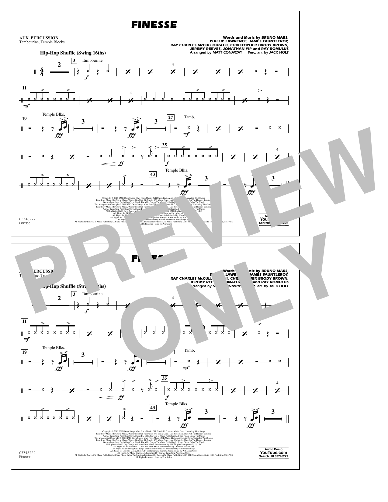 Download Matt Conaway 'Finesse - Aux Percussion' Digital Sheet Music Notes & Chords and start playing in minutes