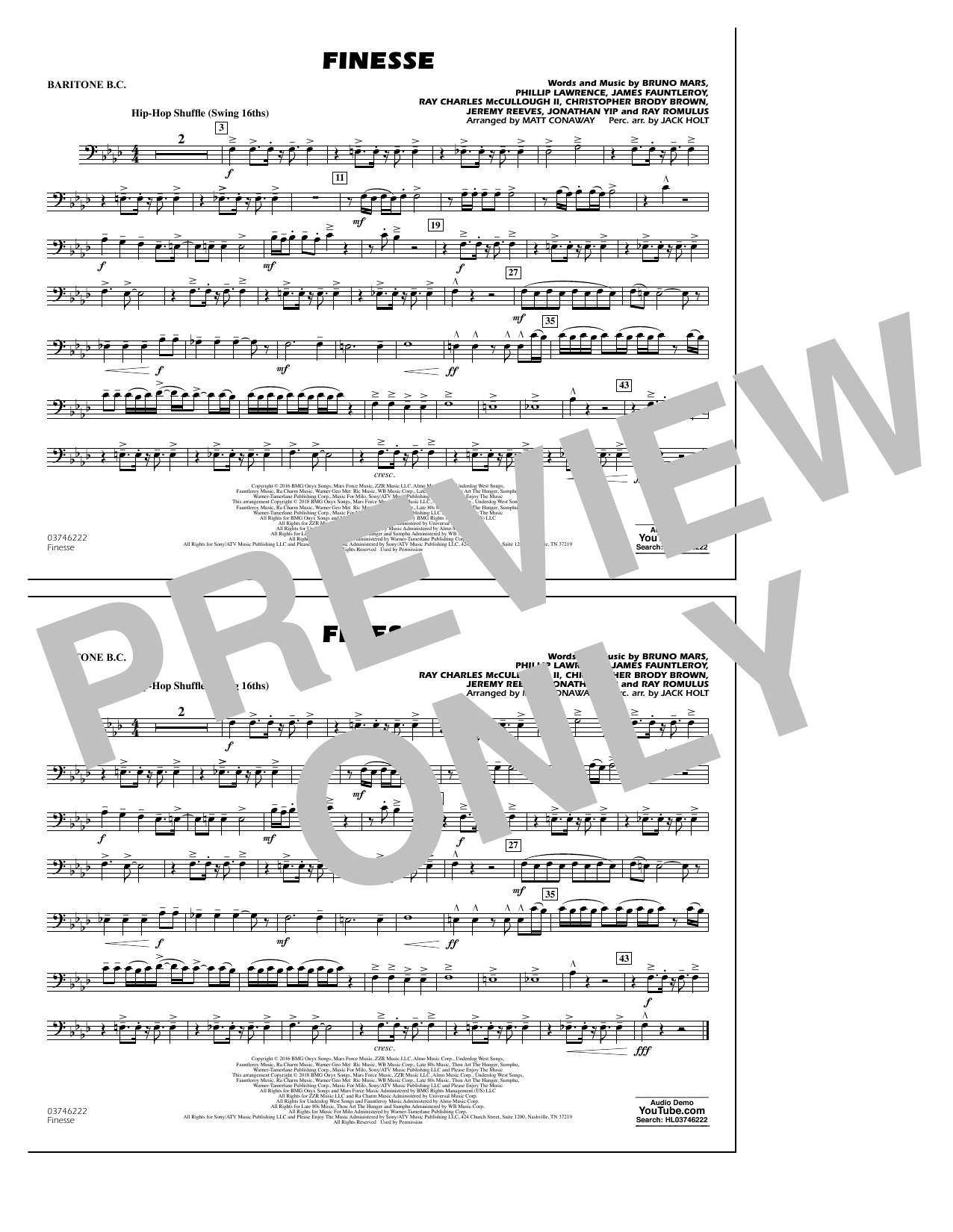 Download Matt Conaway 'Finesse - Baritone B.C.' Digital Sheet Music Notes & Chords and start playing in minutes