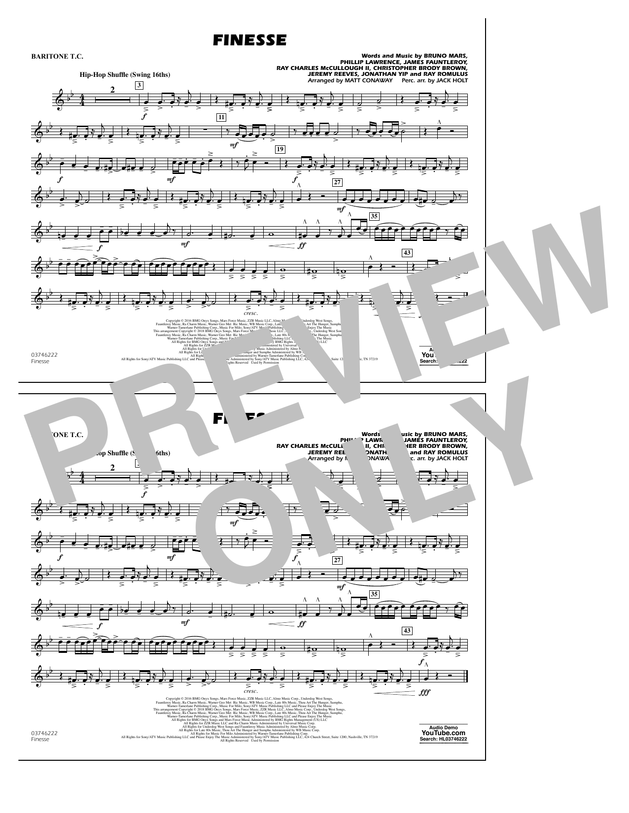 Download Matt Conaway 'Finesse - Baritone T.C.' Digital Sheet Music Notes & Chords and start playing in minutes