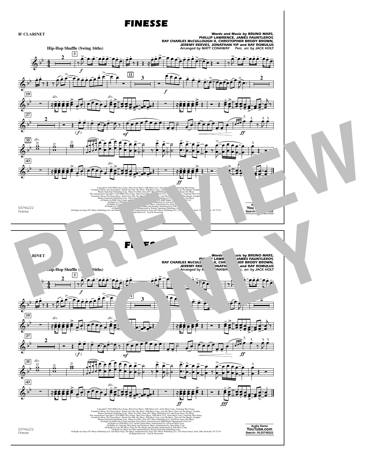 Download Matt Conaway 'Finesse - Bb Clarinet' Digital Sheet Music Notes & Chords and start playing in minutes