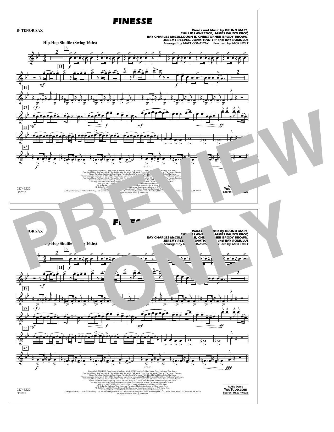 Download Matt Conaway 'Finesse - Bb Tenor Sax' Digital Sheet Music Notes & Chords and start playing in minutes