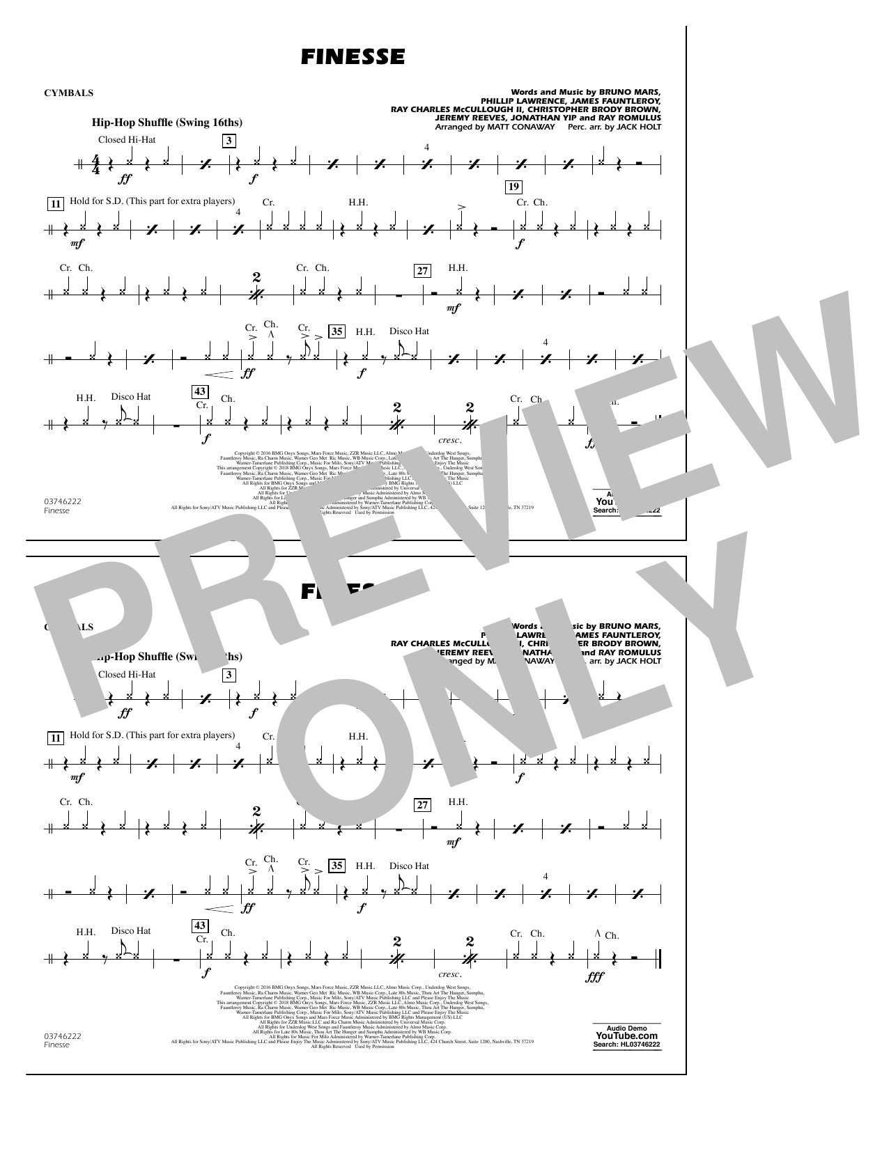 Download Matt Conaway 'Finesse - Cymbals' Digital Sheet Music Notes & Chords and start playing in minutes