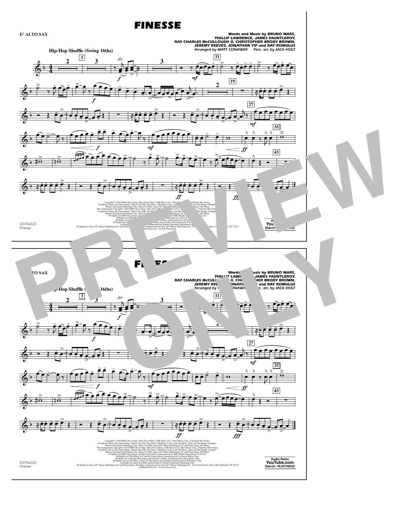 Download Matt Conaway 'Finesse - Eb Alto Sax' Digital Sheet Music Notes & Chords and start playing in minutes