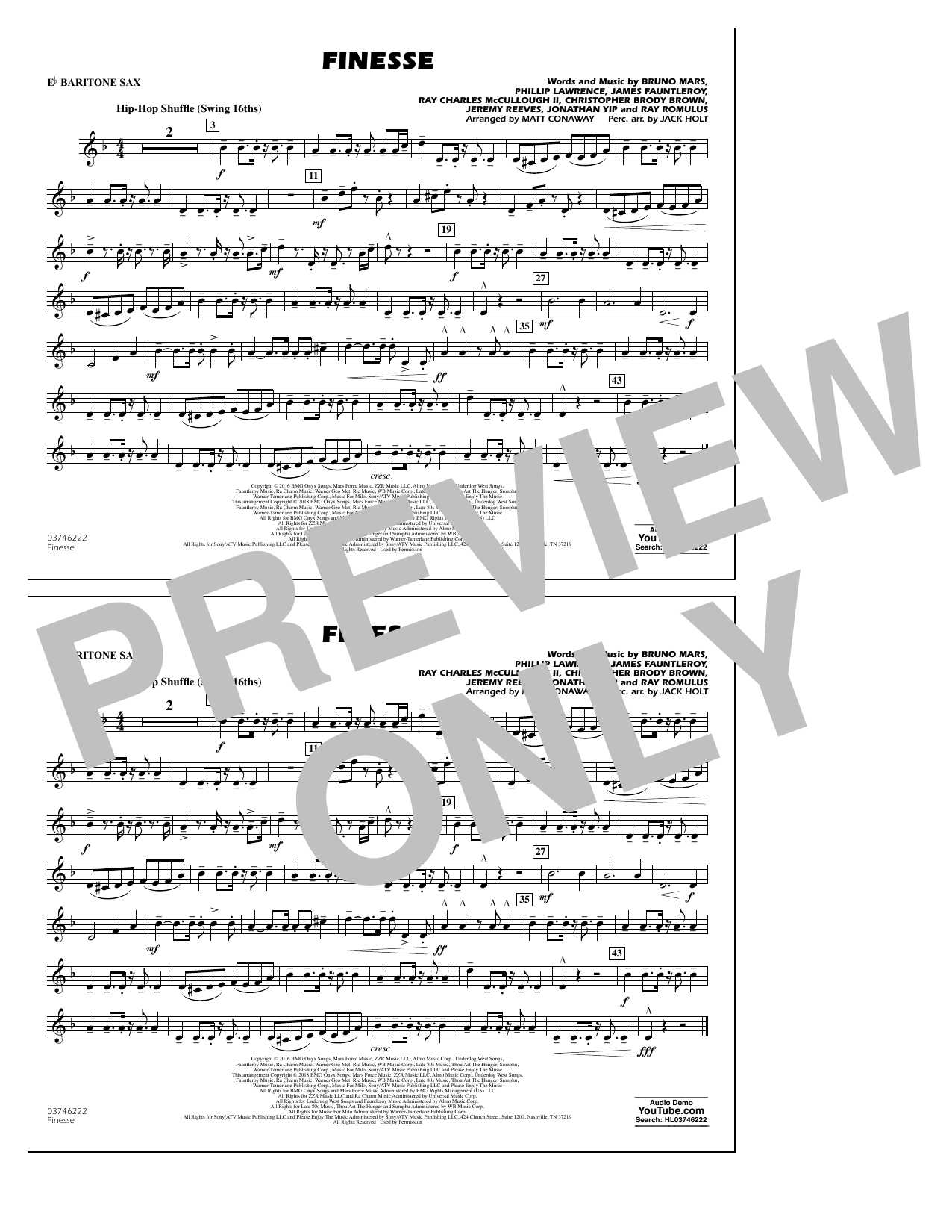 Download Matt Conaway 'Finesse - Eb Baritone Sax' Digital Sheet Music Notes & Chords and start playing in minutes