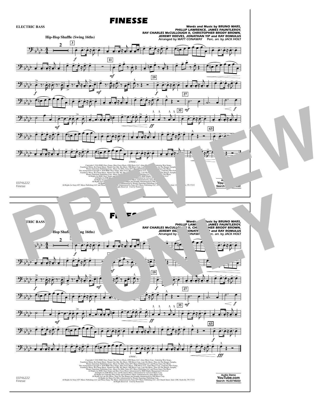 Download Matt Conaway 'Finesse - Electric Bass' Digital Sheet Music Notes & Chords and start playing in minutes
