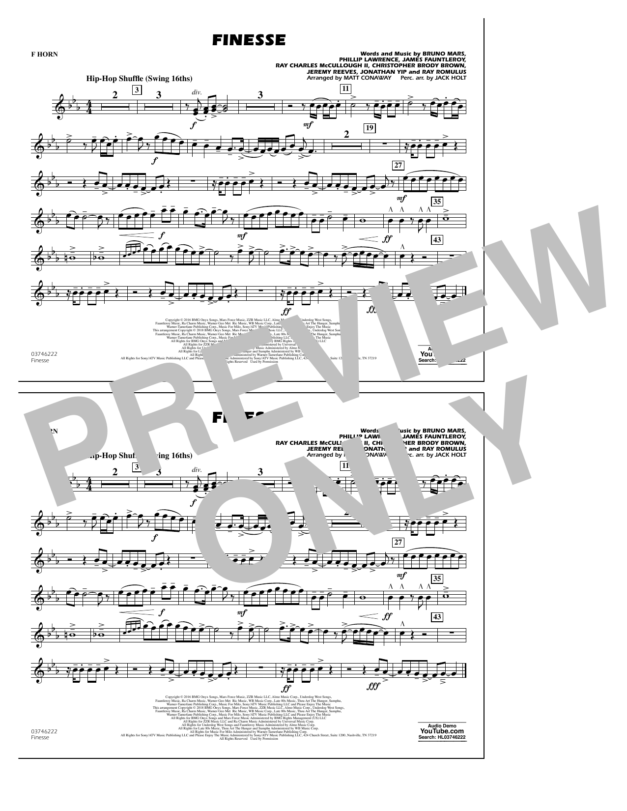 Download Matt Conaway 'Finesse - F Horn' Digital Sheet Music Notes & Chords and start playing in minutes