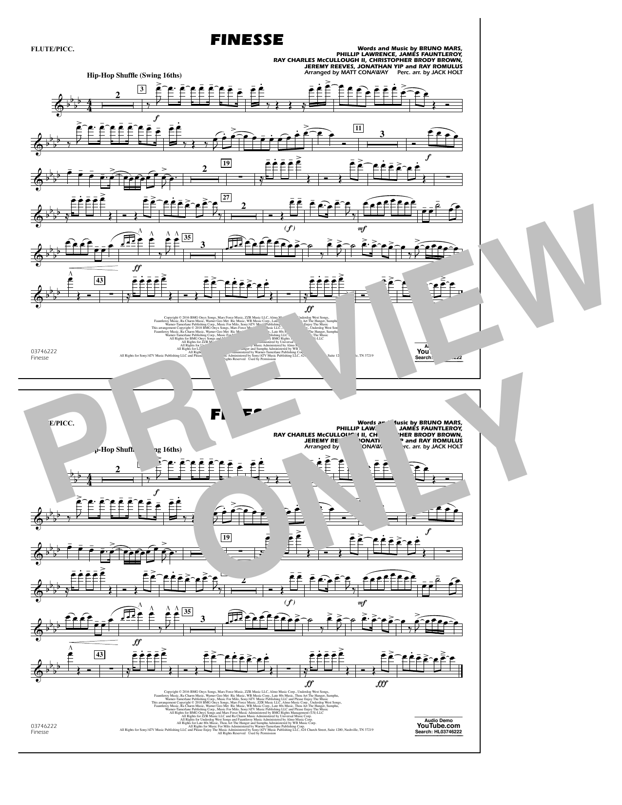 Download Matt Conaway 'Finesse - Flute/Piccolo' Digital Sheet Music Notes & Chords and start playing in minutes