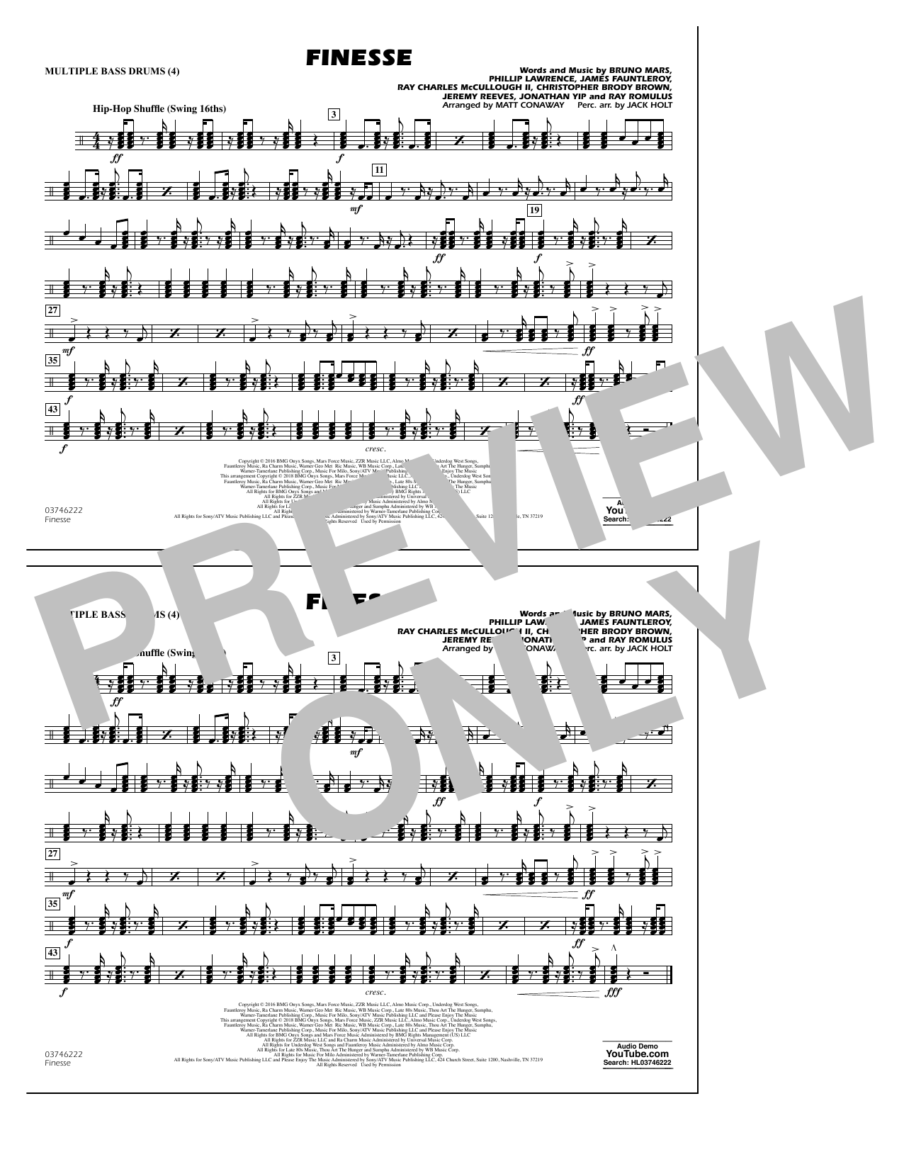 Download Matt Conaway 'Finesse - Multiple Bass Drums' Digital Sheet Music Notes & Chords and start playing in minutes