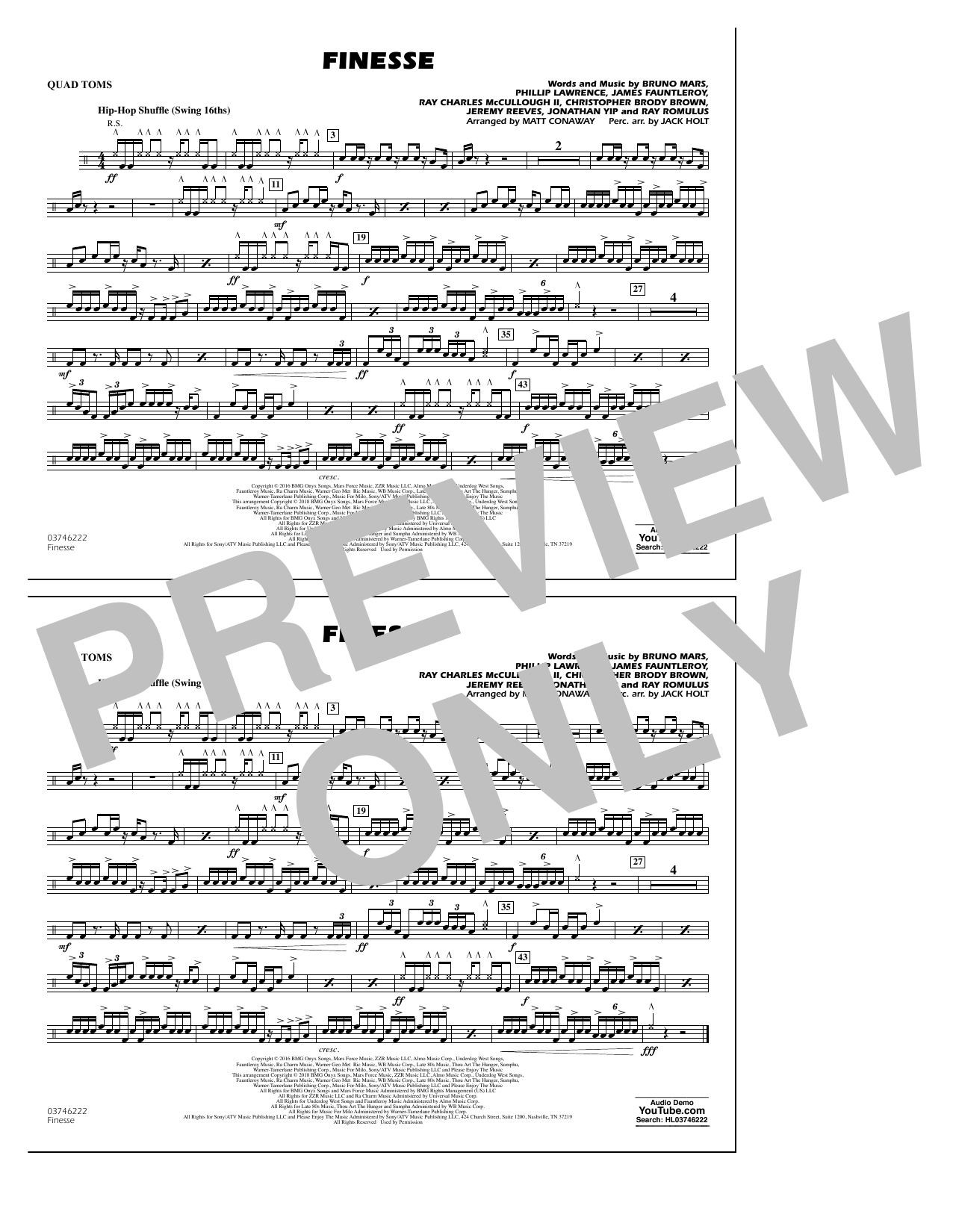 Download Matt Conaway 'Finesse - Quad Toms' Digital Sheet Music Notes & Chords and start playing in minutes