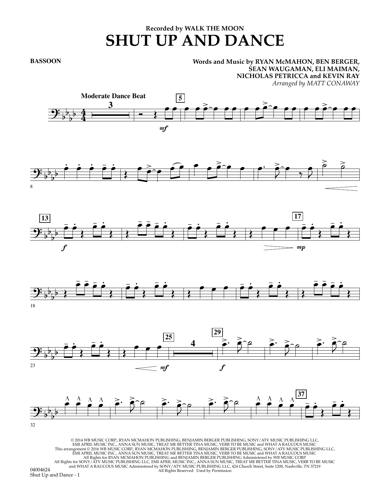 Matt Conaway Shut Up And Dance - Bassoon sheet music preview music notes and score for Concert Band including 2 page(s)