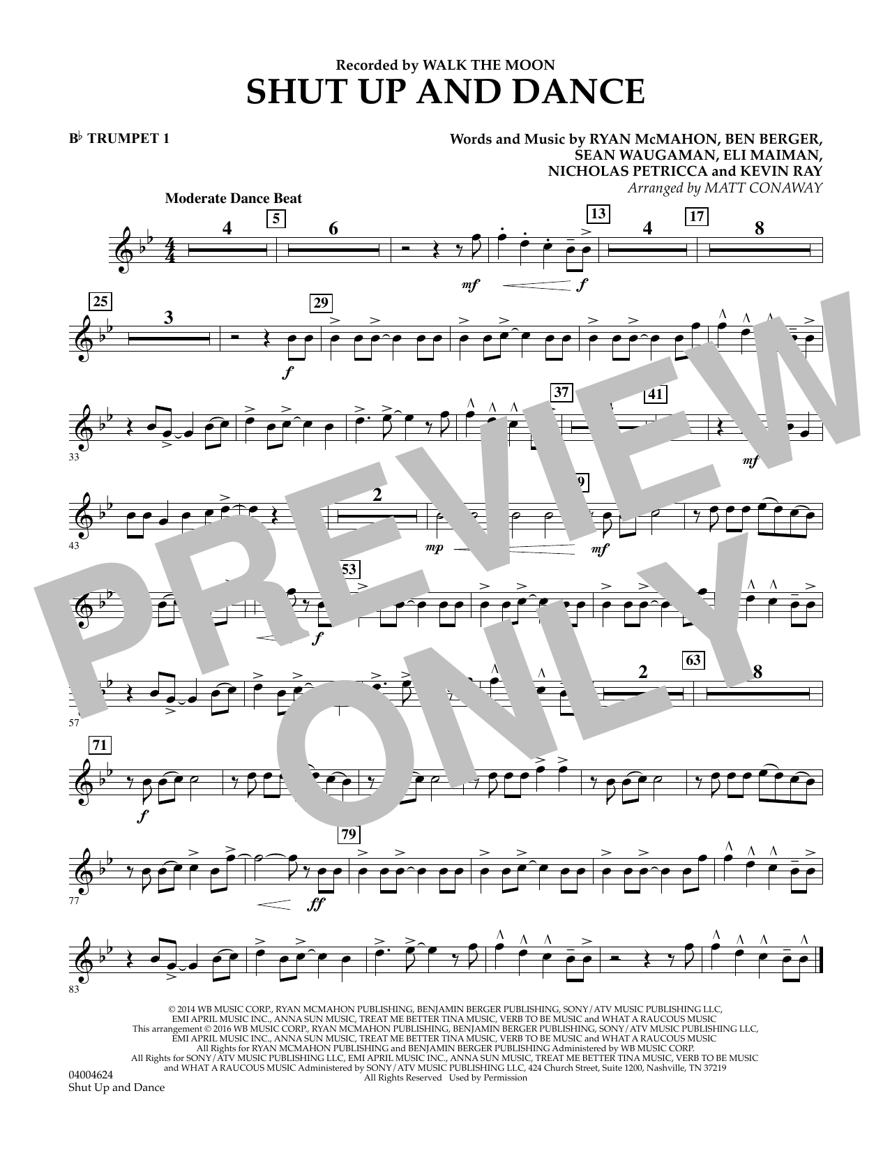 Matt Conaway Shut Up And Dance - Bb Trumpet 1 sheet music preview music notes and score for Concert Band including 1 page(s)