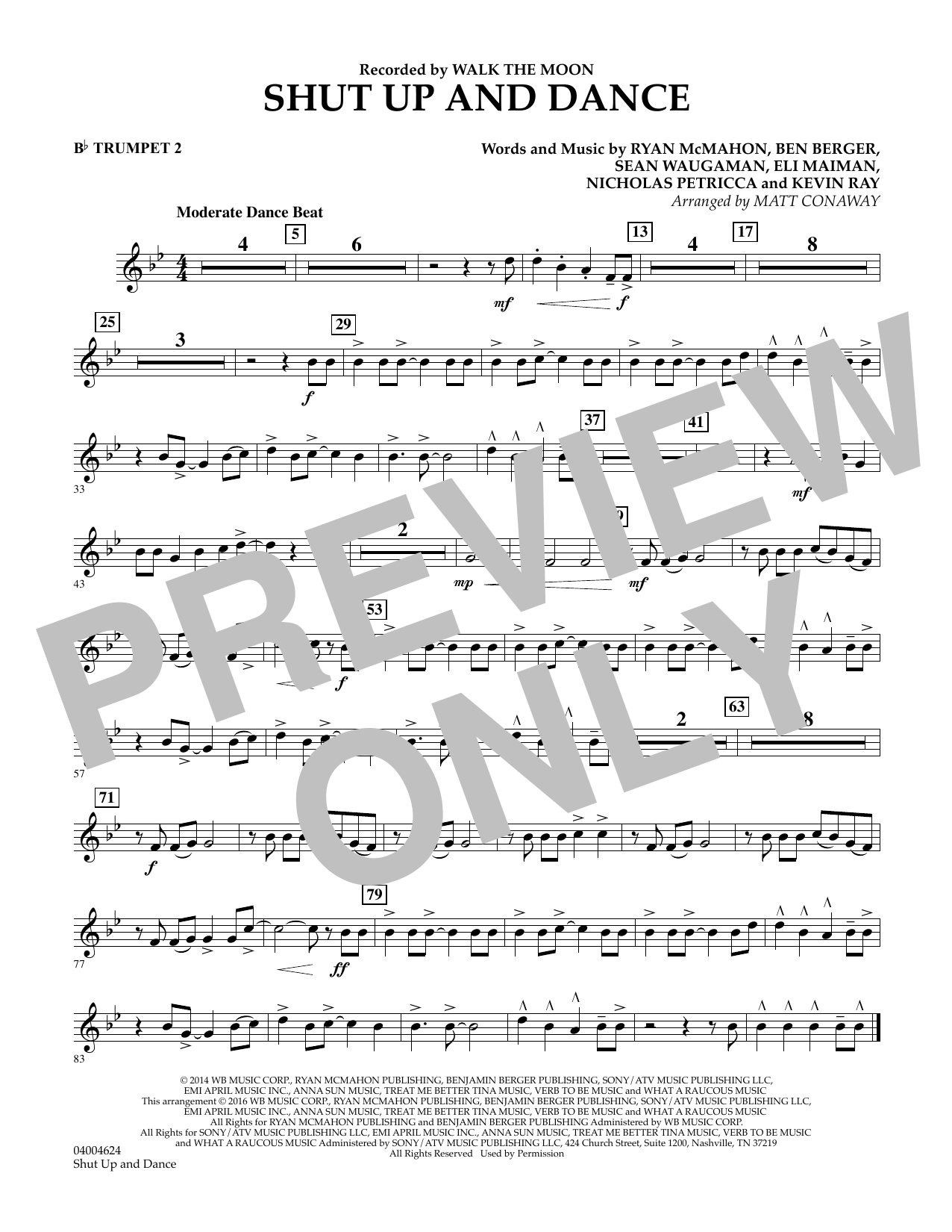 Matt Conaway Shut Up And Dance - Bb Trumpet 2 sheet music preview music notes and score for Concert Band including 1 page(s)