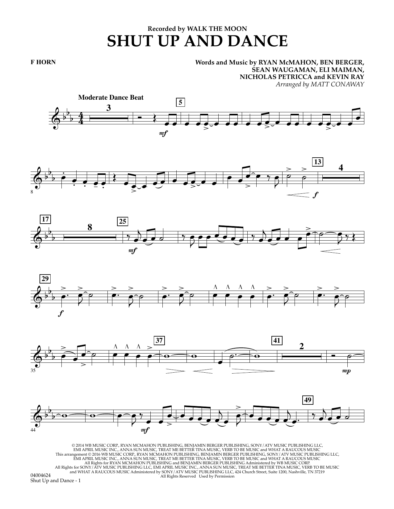 Matt Conaway Shut Up And Dance - F Horn sheet music preview music notes and score for Concert Band including 2 page(s)