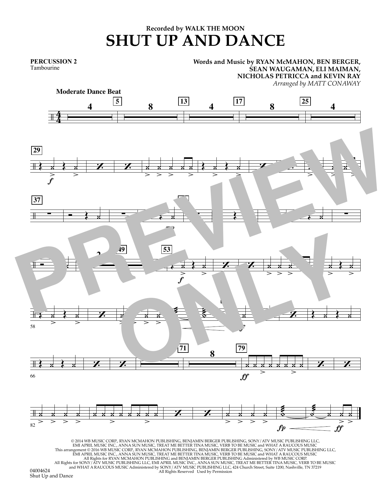 Matt Conaway Shut Up And Dance - Percussion 2 sheet music preview music notes and score for Concert Band including 1 page(s)