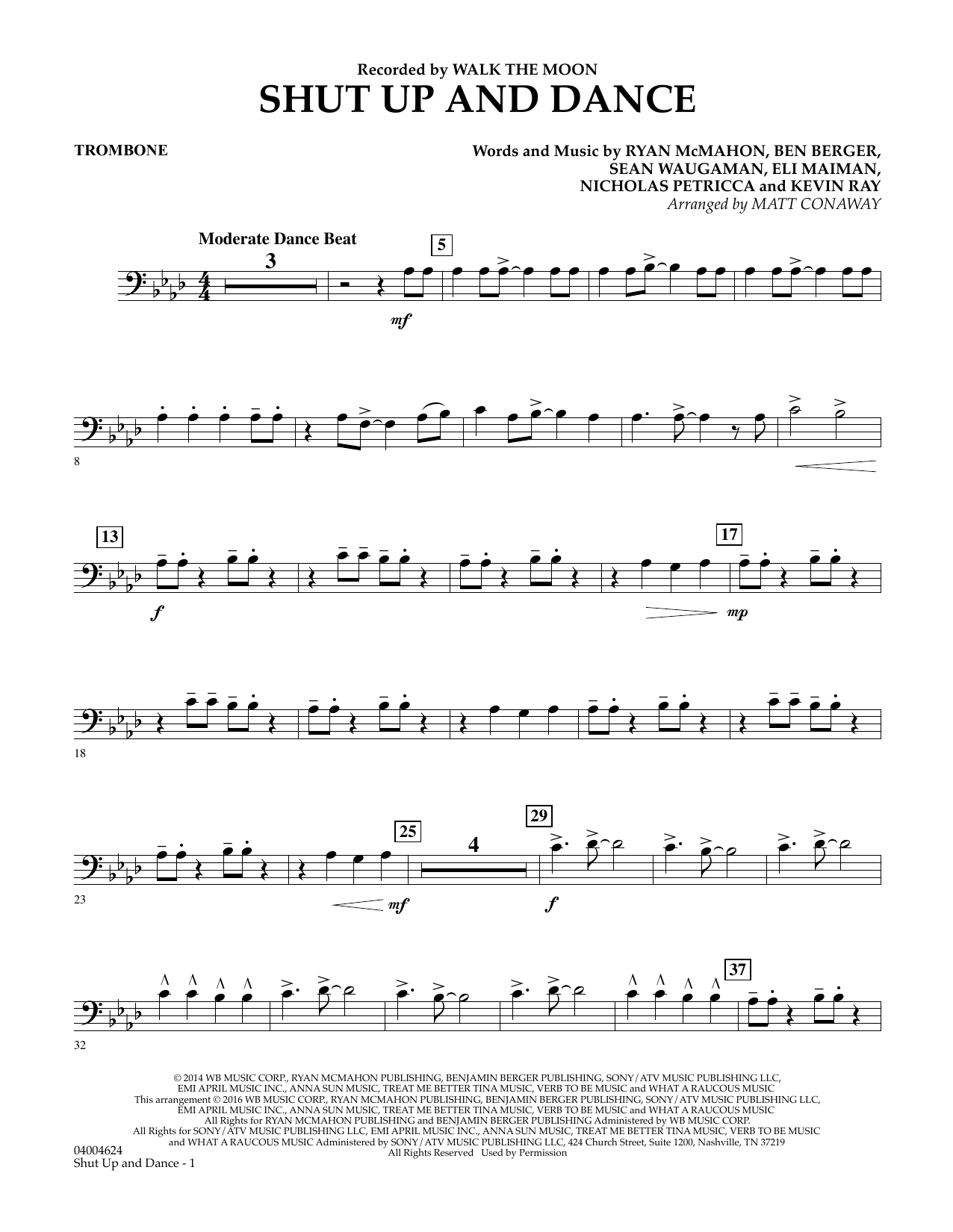 Matt Conaway Shut Up And Dance - Trombone sheet music preview music notes and score for Concert Band including 2 page(s)