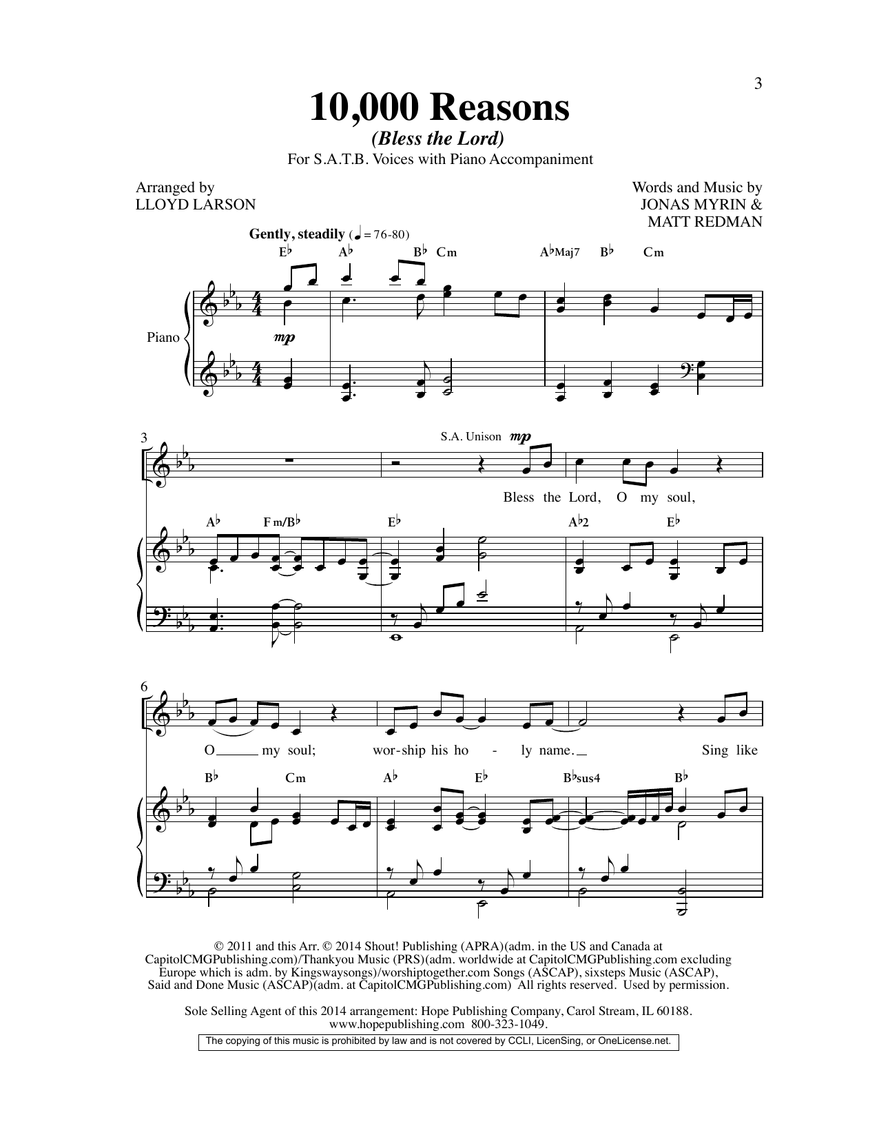 Matt Redman 10,000 Reasons (Bless the Lord) (arr. Lloyd Larson) sheet music preview music notes and score for SAB Choir including 10 page(s)