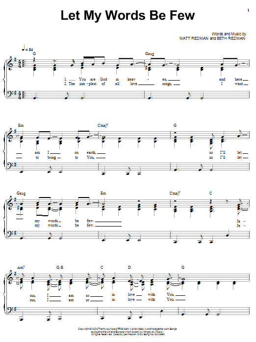 Matt Redman Let My Words Be Few (I'll Stand In Awe Of You) sheet music notes and chords