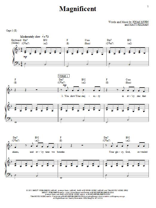 Matt Redman Magnificent sheet music notes and chords