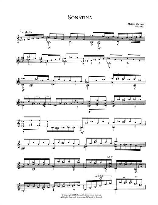 Matteo Carcassi Sonatina sheet music preview music notes and score for Guitar including 2 page(s)