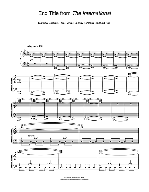 Download Matthew Bellamy 'End Title (from The International)' Digital Sheet Music Notes & Chords and start playing in minutes