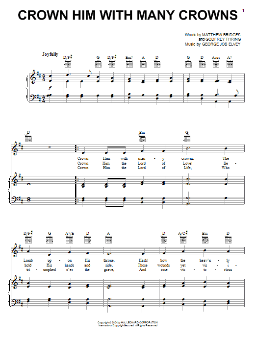 Matthew Bridges Crown Him With Many Crowns sheet music preview music notes and score for Piano, Vocal & Guitar (Right-Hand Melody) including 2 page(s)