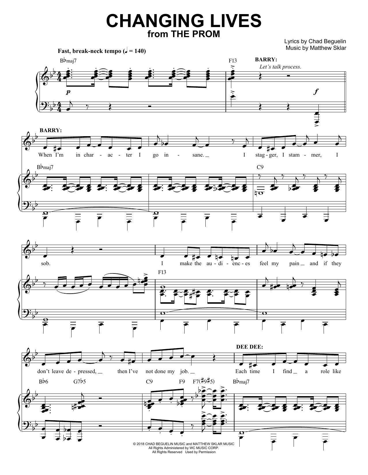 Matthew Sklar & Chad Beguelin Changing Lives (from The Prom: A New Musical) sheet music preview music notes and score for Piano & Vocal including 6 page(s)