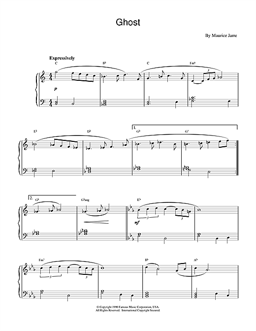 Maurice Jarre Ghost (Theme) sheet music notes and chords