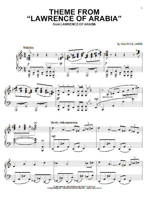Maurice Jarre Theme From Lawrence Of Arabia sheet music preview music notes and score for Piano including 3 page(s)