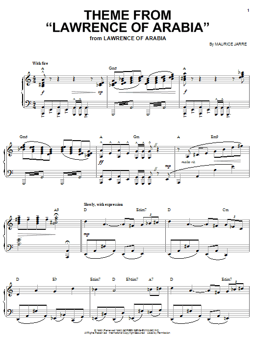 Maurice Jarre Theme from Lawrence Of Arabia sheet music notes and chords