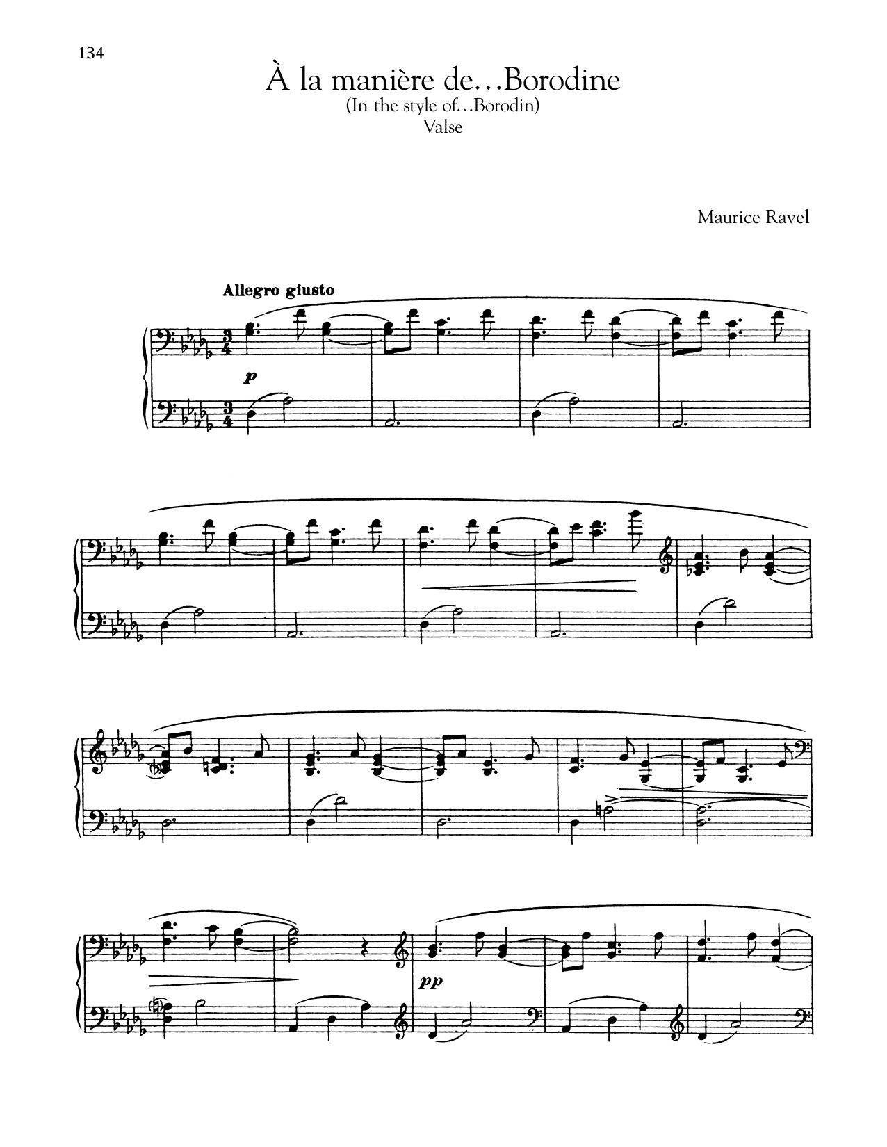 Maurice Ravel A La Maniere De Borodine (Valse) sheet music notes and chords