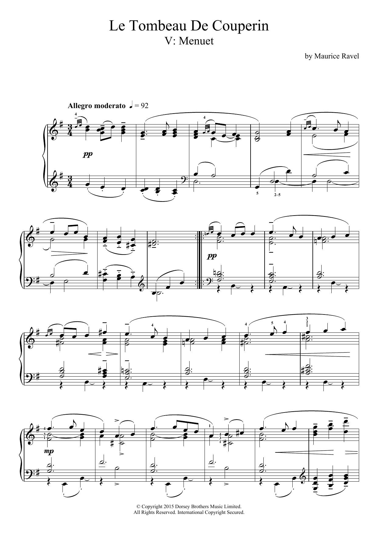 Maurice Ravel Le Tombeau De Couperin - V. Menuet sheet music preview music notes and score for Piano including 5 page(s)