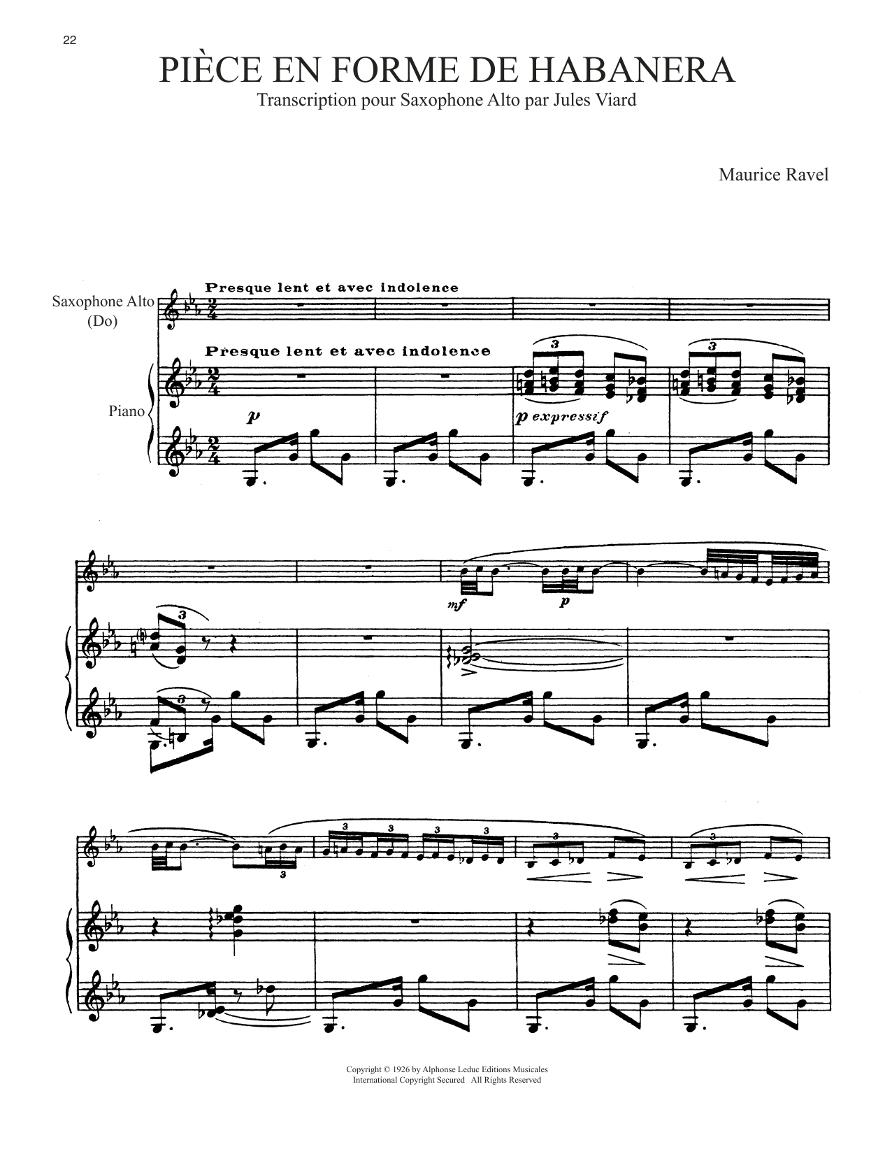 Download Maurice Ravel 'Piece En Forme De Habanera' Digital Sheet Music Notes & Chords and start playing in minutes
