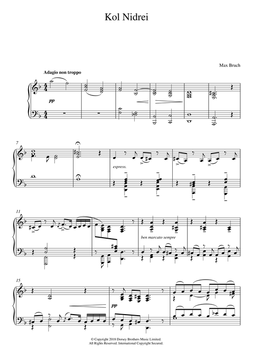 Download Max Bruch 'Kol Nidrei, Op. 47' Digital Sheet Music Notes & Chords and start playing in minutes