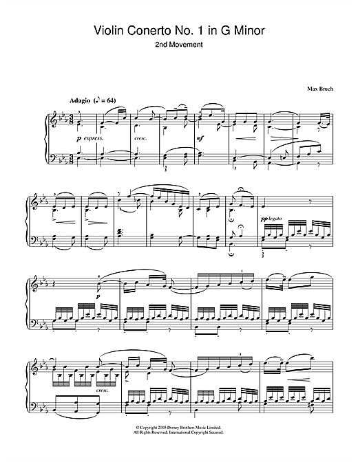 Download Max Bruch 'Violin Concerto No.1 In G Minor (2nd Movement)' Digital Sheet Music Notes & Chords and start playing in minutes