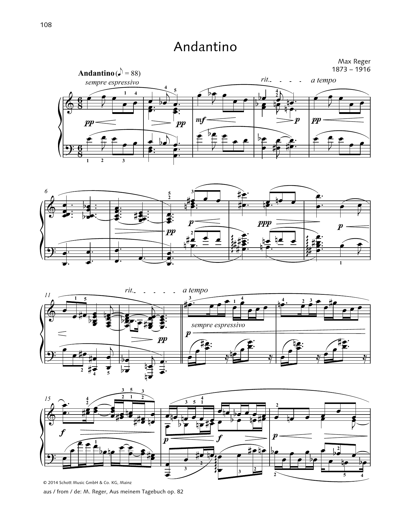 Max Reger Andantino sheet music preview music notes and score for Piano Solo including 4 page(s)