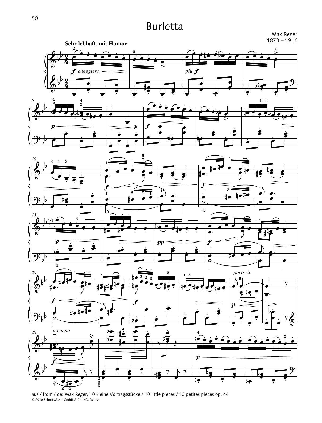 Max Reger Burletta sheet music preview music notes and score for Piano Solo including 2 page(s)