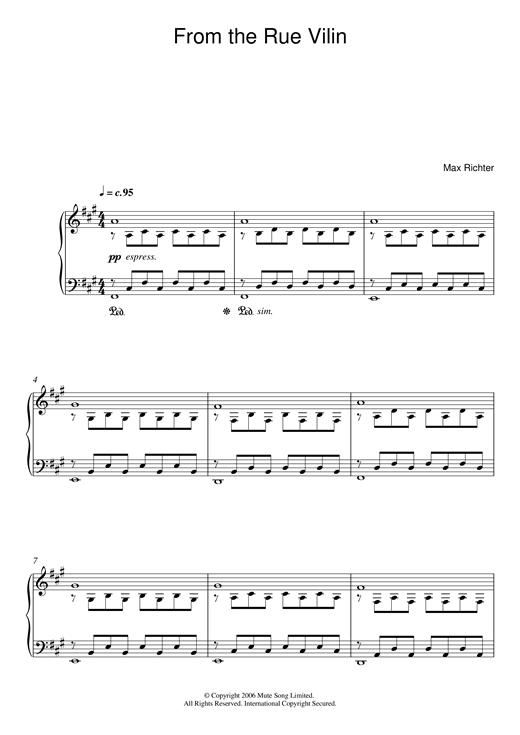 Download Max Richter 'From The Rue Vilin' Digital Sheet Music Notes & Chords and start playing in minutes