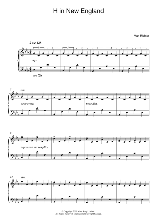 Download Max Richter 'H In New England' Digital Sheet Music Notes & Chords and start playing in minutes
