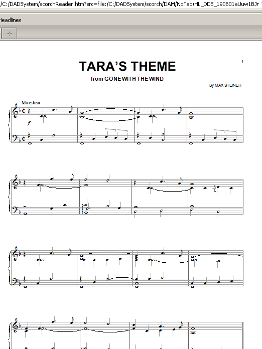 Max Steiner Tara's Theme sheet music preview music notes and score for Piano, Vocal & Guitar (Right-Hand Melody) including 2 page(s)