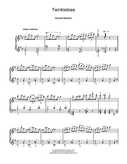 Download Maxwell Eckstein 'Twinkletoes' Digital Sheet Music Notes & Chords and start playing in minutes