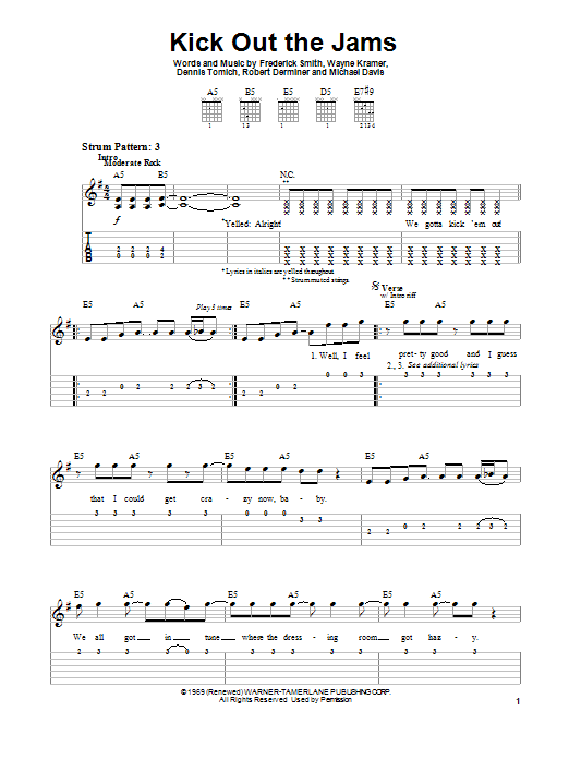 MC5 Kick Out The Jams sheet music preview music notes and score for Easy Guitar Tab including 3 page(s)