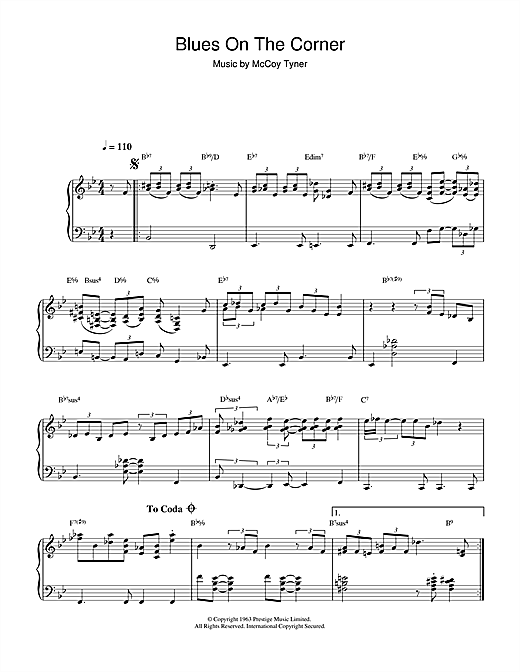 McCoy Tyner Blues On The Corner sheet music notes and chords