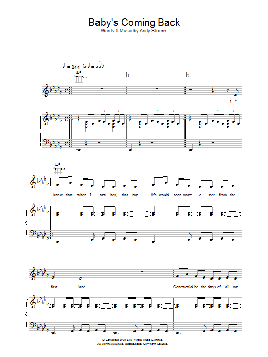 McFly Baby's Coming Back sheet music preview music notes and score for Piano, Vocal & Guitar including 8 page(s)