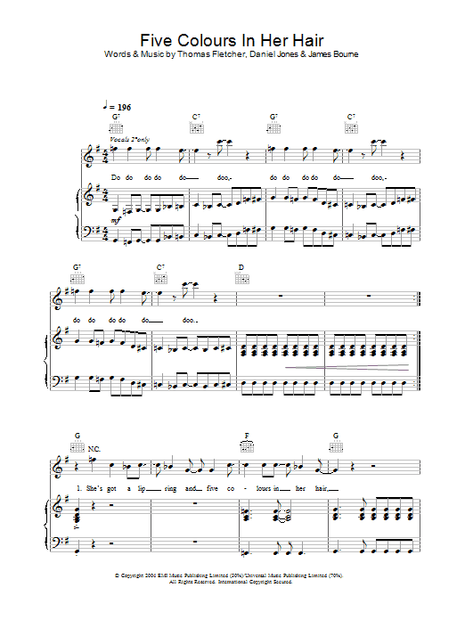 McFly Five Colours In Her Hair sheet music preview music notes and score for Guitar Tab including 7 page(s)