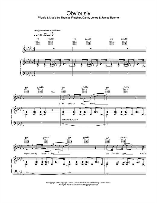McFly Obviously sheet music notes and chords
