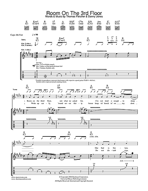 McFly Room On The 3rd Floor sheet music notes and chords