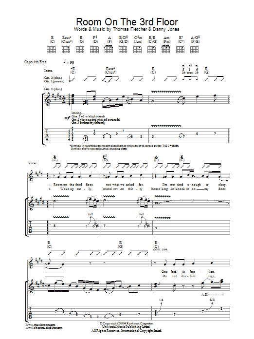 McFly Room On The 3rd Floor sheet music preview music notes and score for Guitar Tab including 5 page(s)
