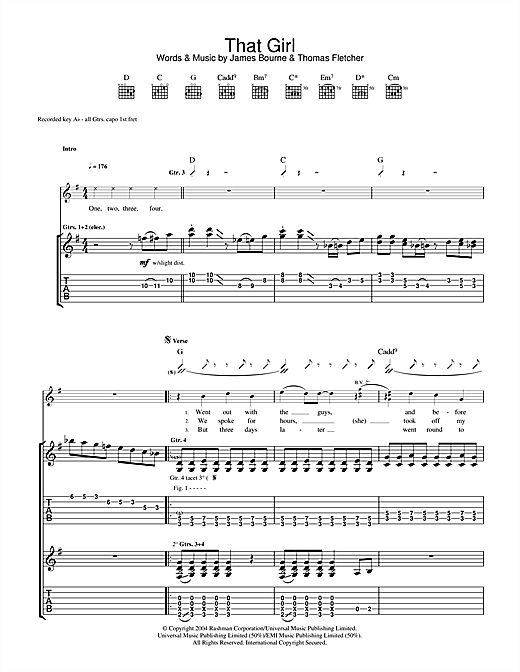McFly That Girl sheet music notes and chords