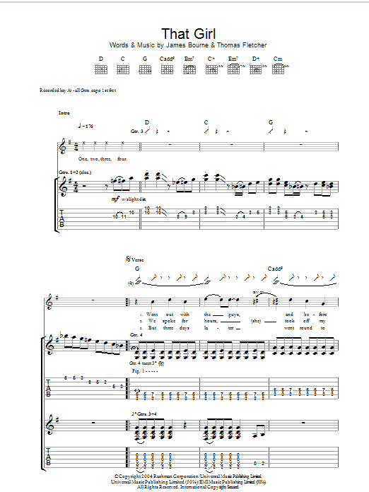 McFly That Girl sheet music preview music notes and score for Guitar Tab including 9 page(s)