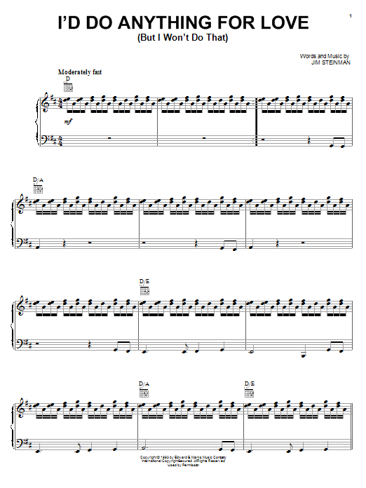 Meat Loaf I'd Do Anything For Love (But I Won't Do That) sheet music preview music notes and score for Piano, Vocal & Guitar (Right-Hand Melody) including 17 page(s)